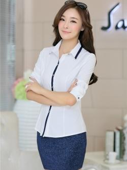 เสื้อเชิ้ตผู้หญิงแขนยาว สีขาว