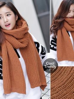 ผ้าพันคอไหมพรมถัก Knit Scarf - size 160x30 cm - สี Brown