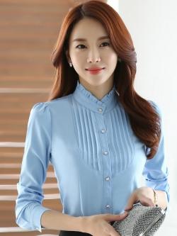 เสื้อเชิ้ตทำงานแขนยาวสีฟ้า สำหรับเป็นชุดยูนิฟอร์ม ชุดพนักงาน