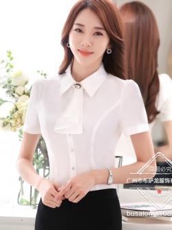 เสื้อเชิ้ตทำงานผู้หญิงแขนสั้น สีขาว พร้อมโบว์ถอดได้