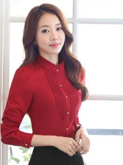 เสื้อผู้หญิงแขนยาวทำงาน สีแดง สำหรับเป็นชุดยูนิฟอร์ม ชุดพนักงาน