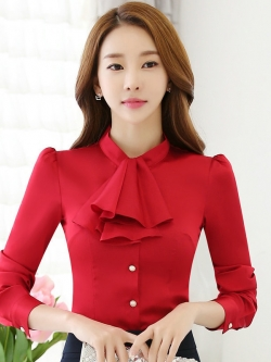 เสื้อทำงานผู้หญิงแขนยาวระบายหน้า สีแดง ชุดยูนิฟอร์มเรียบหรู