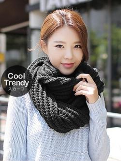 ผ้าพันคอไหมพรมถัก Knit Scarf - size 160x30 cm - สี Black