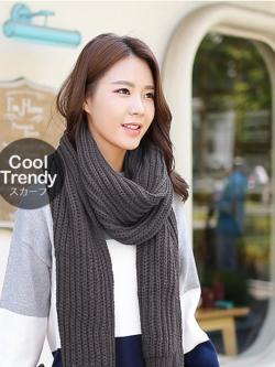 ผ้าพันคอไหมพรมถัก Knit Scarf - size 160x30 cm - สี dark gray