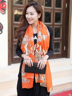 ผ้าพันคอแฟชั่นลายเสือ leopard ผ้าชีฟอง 160x70 cm สีส้ม