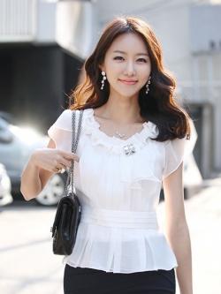 เสื้อทำงานผู้หญิงแขนสั้น ผ้าชีฟอง สีขาว