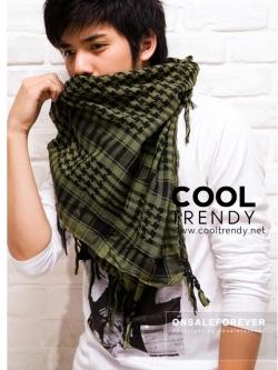 ผ้าพันคอผู้ชาย Man scarf ผ้าพันคอชีมัค Shemagh : สีเขียว size 100 x 100 cm