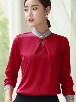 เสื้อทำงานผู้หญิงแขนยาวแฟชั่นเรียบร้อยดูดี สีไวน์แดง