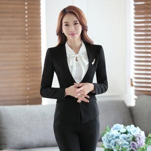 เสื้อสูทผู้หญิงแขนยาวไม่มีปกแฟชั่น สีดำ