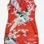 Size S / M / L/ XL / XXL ชุดกี่เพ้าสีแดงลายนกยูงสำหรับสาวอวบจร้า thumbnail 5