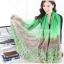 ผ้าพันคอลายทุ่งดอกไม้ Flower Garden : สีเขียว ผ้า Viscose size 180x90 cm thumbnail 4