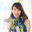 ผ้าพันคอแฟชั่น Retro Graphic : สีม่วง ผ้าชีฟอง size 150x50 cm thumbnail 3