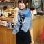 ผ้าพันคอลายเขาวงกต Maze Pattern : สีน้ำเงิน - ผ้าพันคอ Cotton - 160x80 cm thumbnail 3