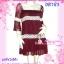 ก๊อปงานChloe' : Wine Dress: DB783 ใหม่! ชุดแซก/เดรสผ้าชีฟองหรูมากเนื้อผ้ามีดิ้น แขนสามส่วนคอสี่เหลี่ยม แต่งลูกไม้ สีแดงไวน์มีซับใน thumbnail 1