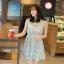 """""""พร้อมส่ง""""เสื้อผ้าแฟชั่นสไตล์เกาหลีราคาถูก เดรสสีเขียว แขนกุด ลายดอกไม้ จั๊มเอว มีซับใน thumbnail 1"""