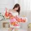 ชุดกิโมโน สีขาว ลายดอกโทนสีส้มทอง สวยมว๊าก thumbnail 2