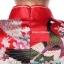 Size S / M / L/ XL / XXL ชุดกี่เพ้าสีแดงลายนกยูงสำหรับสาวอวบจร้า thumbnail 4