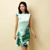 ชุดกี่เพ้าสั้นผ้าซาตินยืดสไตล์คลาสสิกลายธรรมชาติทิวทัศน์ คอจีน กระดุมจีน แขนในตัว (XL,2XL,3XL)