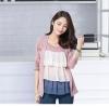 เสื้อเย็บหลอกสองชิ้นคอกลมแขนยาว สีชมพูเข้ม (XL,2XL,3XL,4XL)