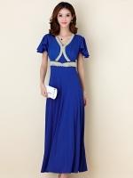 ชุดราตรียาวสวยสง่างาม ติดเพชรสวยไฮโซ สีน้ำเงิน/สีบานเย็น (XL,2XL,3XL)