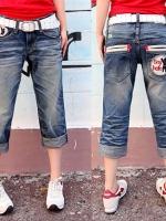 ♥พร้อมส่ง♥ กางเกงยีนส์ขาสามส่วนพับปลายขา ปักรูปกระเป๋าหลัง XL 2XL 3XL 4XL