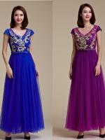ชุดราตรียาว ตัวเสื้อปักลายสีทอง สีน้ำเงิน/สีม่วง (XL,2XL,3XL)