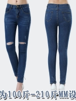 กางเกงยีนส์ยืดเข่าขาดไซส์ใหญ่ สีน้ำเงิน (XL,2XL,3XL,4XL,5XL,6XL)