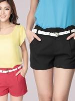 กางเกงขาสั้นสบาย ๆ พร้อมเข็มขัด สีแดง/สีดำ (XL,2XL,3XL,4XL)