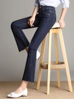 กางเกงยีนส์ขายาวทรงมอส(ขาม้า) ปลายขาปล่อยลุ่ย สีน้ำเงิน (XL,2XL,3XL,4XL,5XL)