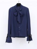 ++พร้อมส่ง++ เสื้อเชิ้ตชีฟองผสมลินินเนื้อดี สีน้ำเงินเข้ม แขนกระดิ่งแต่งโบว์ดำเก๋ ๆ ช่วงคอเสื้อมีโบว์ผูกสวย ๆ 3XL
