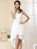 ++พร้อมส่ง++ ชุดเดรสผ้าชีฟองไซส์ใหญ่ แขนกุด กระโปรงหน้าสั้นหลังยาว สีขาว (2XL,3XL)