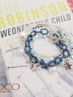 ♥♥สีน้ำเงินพร้อมส่ง♥♥ เซตสร้อยข้อมือ ประกอบด้วยสร้อยข้อมือหลายๆ วงซ้อนกันที่มาพร้อมกับลูกปัดมุก โลหะรูปดาวสีทอง สวยหรูหรามากๆ ค่ะ