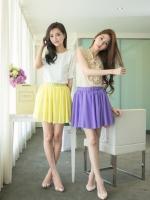 ♥♥ สีชมพูกับสีม่วงพร้อมส่งค่ะ ♥♥ กระโปรงชีฟองสั้นพร้อมเข็มขัด สีสันสดใส เนื้อผ้าชีฟอง เอวยางยืดขยายตามขนาดตัว สวมใส่สบายมากๆ ค่ะ