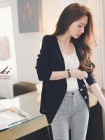 ❤❤ สีดำพร้อมส่งค่ะ ❤❤ เสื้อคลุมแขนยาวสีดำ ใส่เป็นเสื้อตัวนอกสวยๆ แต่งกระดุมสีเงินดูหรูหรา ใส่เป็นเสื้อสูทได้เลยค่ะ