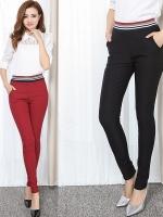 กางเกงขายาวไซส์ใหญ่ ทรงดินสอ เอวยางยืด สีน้ำเงิน/สีแดง/สีดำ (2XL,3XL,4XL,5XL,6XL)