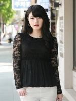 ++พร้อมส่ง++ เสื้อลูกไม้ สีดำ ใต้อกลงไปเป็นผ้าชีฟองจีบ แบบหรูสง่างาม (XL,4XL,5XL)
