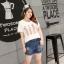 เสื้อยืดไซส์ใหญ่ สีขาวพิมพ์ลาย คอกลม แขนสั้น (XL,2XL,3XL,4XL) thumbnail 2