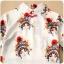 ชุดกี่เพ้าสั้นผ้าซาตินยืดสไตล์เจ้าหญิง คอจีน แขนสั้น สีออฟไวท์ลายอุปรากรจีน (XL,2XL,3XL) thumbnail 4