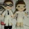 ตุ๊กตาถักโครเชต์คุณหมอและพยาบาล  ขนาด11นิ้ว