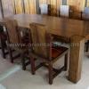 ชุดโต๊ะอาหารไม้สัก+เก้าอี้หนังแท้ TBG-20 SET 6