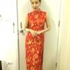 พร้อมส่งชุดกี่เพ้าแบบยาวแขนกุดสีแดงผ้่าช้าง