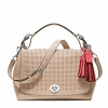 COACH LEGACY PERFORATED LEATHER ROMY TOP HANDLE # 22386 สี SV / BISQUE / HIBISCUS
