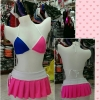 Sexy Matching Set Top with Skirt. Color Matching : Neon Ping with Dark Blue and White.