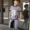 ชุดเด็กนำเข้า สไตล์เกาหลี เสื้อเทา+กางเกง มีไซส์ 110 120 130 140 150