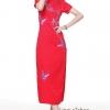 Size XL พร้อมส่งชุดกี่เพ้าแขนสั้นสีแดงเนื้อผ้าไหมแบบยาว