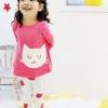 ชุดเด็กผู้หญิง สไตล์เกาหลี สีชมพู ลายแมว มีไซส์ 120 130 140