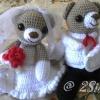 ตุ๊กตาถักไหมพรม หมีคู่แต่งงาน แบบนั่ง <<< ขายแล้ว >>>