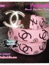 BELT4007 Chanel  Signature Twotone Belt เข็มขัดชาแนล สายเข็มขัดสีชมพูตัวอักษรสีดำ หัวโลหะเงิน CC สลัก chanel