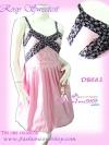 DB683 ::RosySweetest ใหม่! แซคสายเดี่ยวบอลลูนผ้าคอตตอนฮ่องกงเรียบหรู ช่วงอกดูเก๋แต่งผ้าลายดอกไม้ เจ้าหญิงดีเทลสวยสีชมพู
