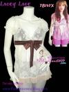#หมด# <ผ้าลูกไม้สาวเกรซ>TB147X ::Babydoll Lace ใหม่!  เสื้ออกไขว้แขนตุ๊กตาผ้าลูกไม้เกาหลี ผูกโบใต้อก สีครีมตาล